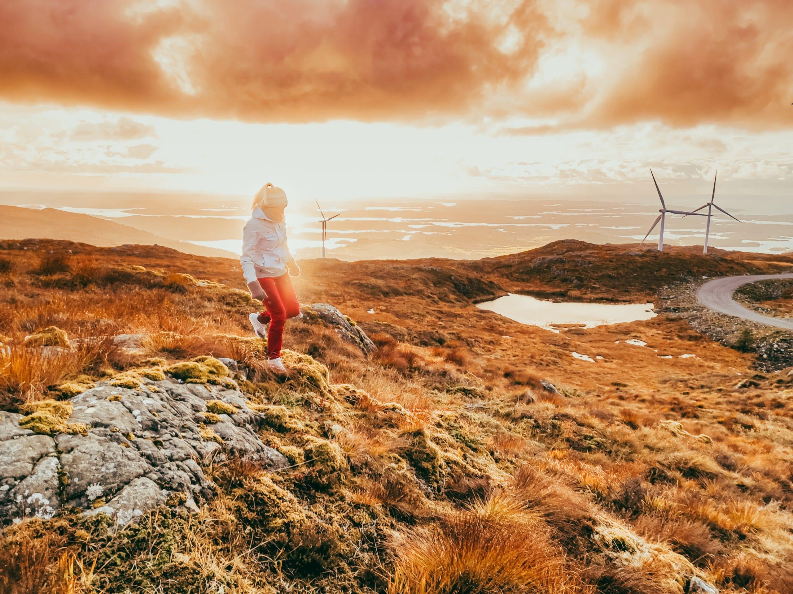 Kort veg inn til vindmølleparken på Fitjar. Stord folkehøgskule